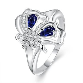 Wholesale Popular creative personality butterfly style Blue CZ Ring 925 Sterling Silver Jewelry Wedding Party Christmas Gift TGSPR004