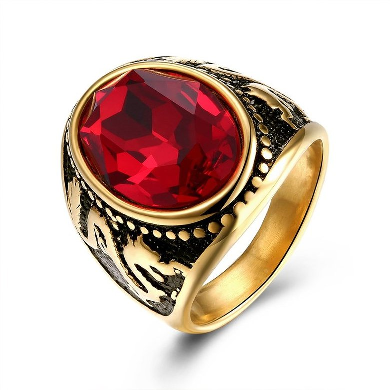 Wholesale Euramerican fashion Vintage big oval red Zircon Stone Rings For Male 18K gold dragon pattern Stainless Steel jewelry Charm Gift  TGSTR137
