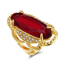 Wholesale Hot sale men Jewelry High polished gold tainless Steel Rings  Charm big oval red Rhinestone Best gift TGSTR005