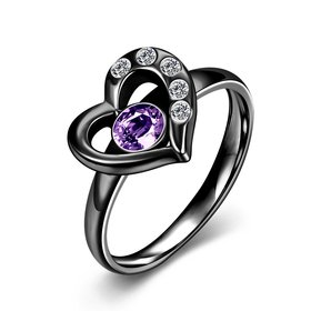 Hot selling new arrival Romantic 316L Stainless Steel high quality Black heart Lucky women ring purple zircon Fashion Jewelry