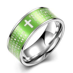 Euramerican Trendy green rotate English Bible cross 316L Stainless Steel wedding rings for men wholesale jewelry