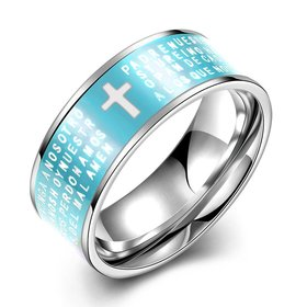 Euramerican Trendy blue rotate English Bible cross 316L Stainless Steel wedding rings for men wholesale jewelry
