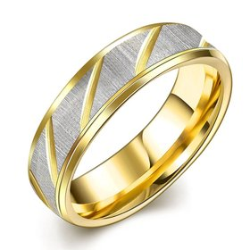 Wholesale Couples Stainless Steel Rings with Gold twill pattern 24K Gold Engagement Ring for Women Men TGSTR023