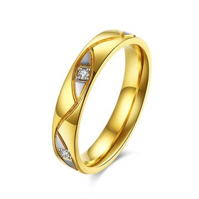 Wholesale Super popular Wedding couple rings  24k gold 2 colors titanium stainless steel zircon diamonds jewelry lover gifts for women TGSTR014