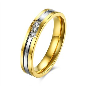 Wholesale Classic Alliances Marriage Couple Wedding Rings set for women zircon jewelry Gold color stainless steel jewelry  TGSTR038