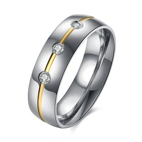 Wholesale Fashion inlay Golden stripe Bling three CZ Wedding Rings For men Stainless Steel Love Gifts TGSTR031