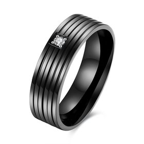 Wholesale Hot Sell Titanium Steel Middle Inlaid white Zircon rings Simple style stripe black Ring For Men Jewelry Gift TGSTR033