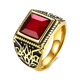 Wholesale Euramerican Fashion Vintage Square Red zircon Stone Signet Ring Men Antique Gold Wedding Band jewelry  TGSTR003