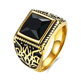 Wholesale Hot sale Euramerican Fashion Vintage big Square black zircon Stone Signet Ring Men 18K Antique Gold Wedding Band jewelry  TGSTR059