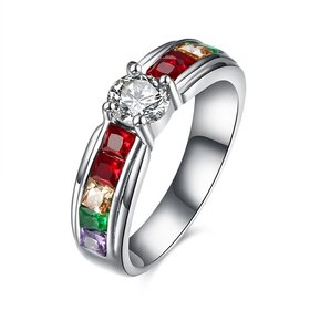 Wholesale Romantic rainbow series fashion jewelry color zircon ring beautiful elegant stainless steel jewelry  TGSTR061