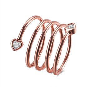 Wholesale Romantic Rose Gold Heart White CZ Ring TGGPR591