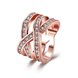 Wholesale Trendy Rose Gold Geometric White Crystal Ring TGGPR764