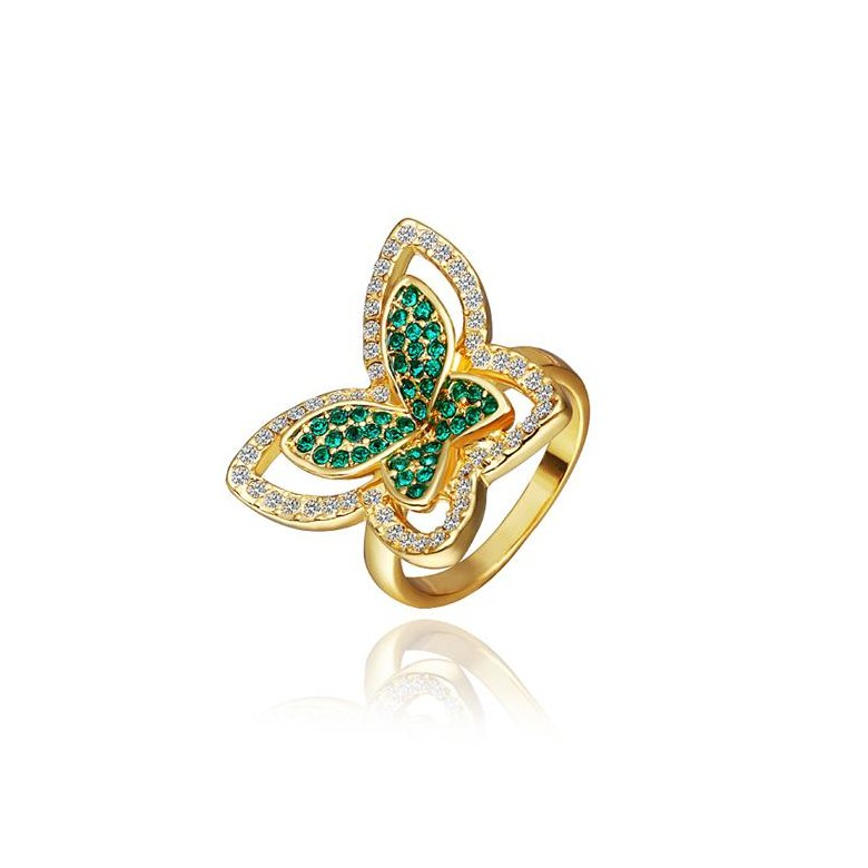Wholesale Trendy 24K Gold Insect Green Rhinestone Ring TGGPR1177