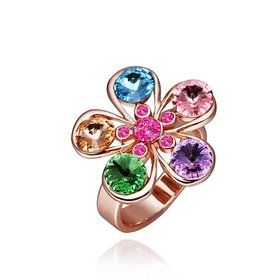 Wholesale Trendy Rose Gold Plant Multi Crystal Ring TGGPR1212