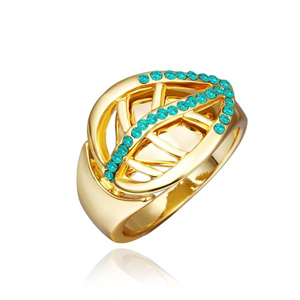 Wholesale Trendy 24K Gold Plant Green Crystal Ring TGGPR1316