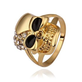 Wholesale Trendy 24K Gold Skeleton White Crystal Ring TGGPR267