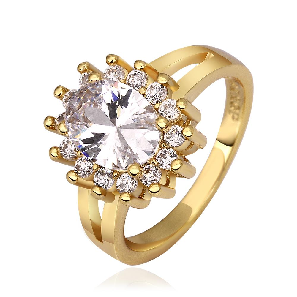 Wholesale Romantic 24K Gold Heart White CZ Ring TGGPR485