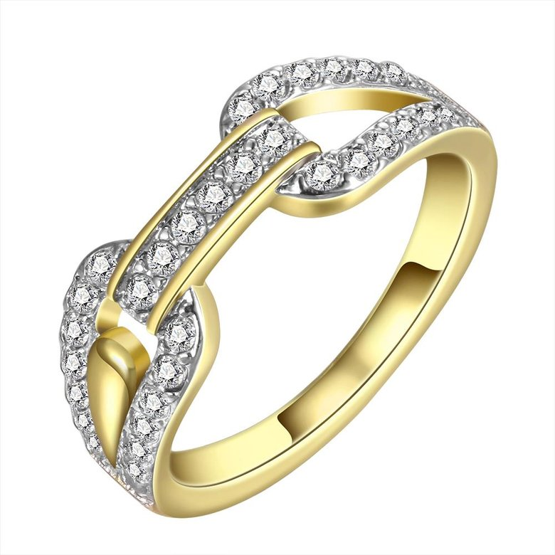 Wholesale Trendy 24K Gold Round White CZ Ring TGGPR749