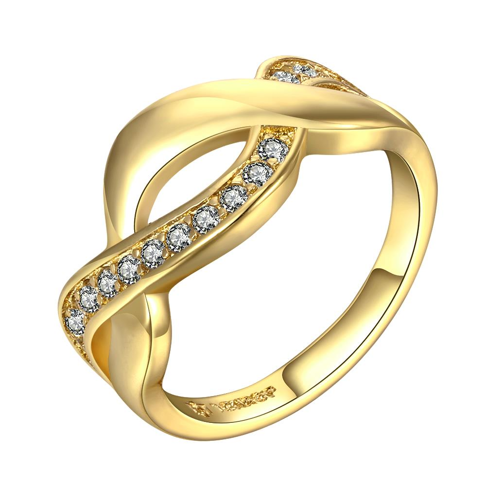 Wholesale Trendy 24K Gold Round White CZ Ring TGGPR758