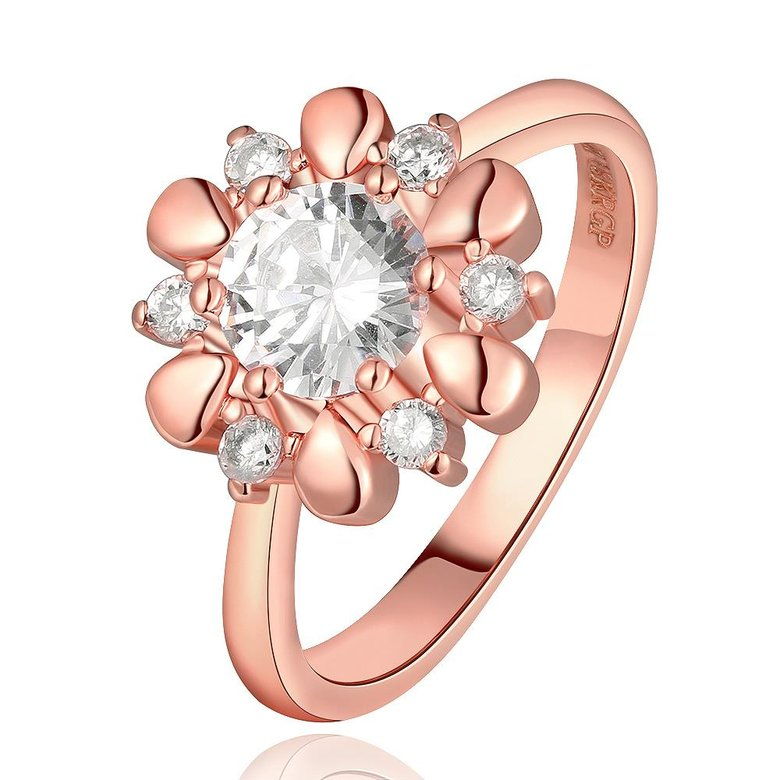 Wholesale Romantic Rose Gold Plant White CZ Ring TGGPR864