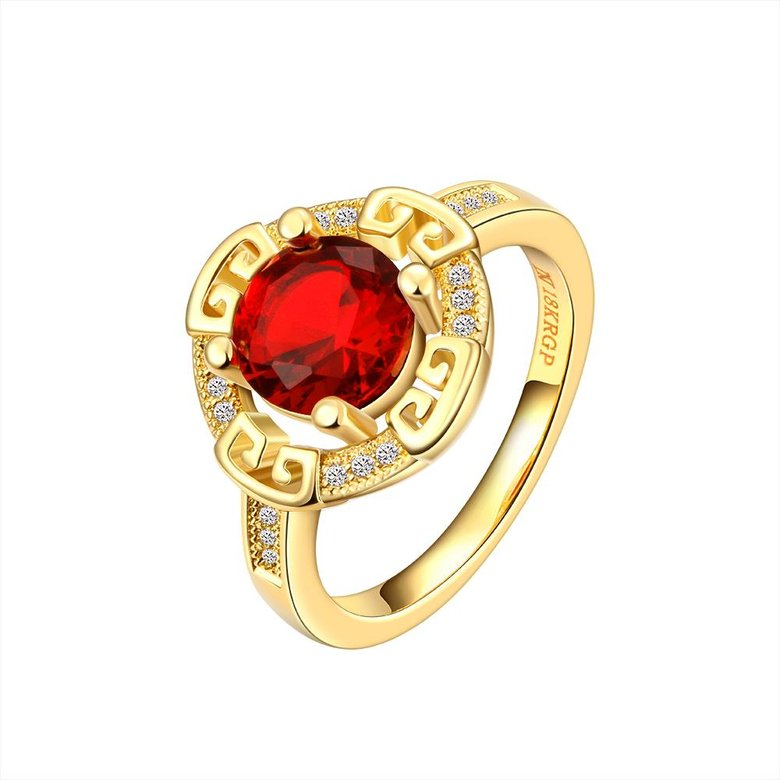 Wholesale Romantic 24K Gold Round Red CZ Ring TGGPR1150