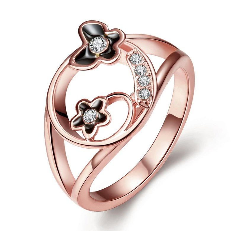Wholesale Romantic Rose Gold Plant White Rhinestone Ring TGGPR1260