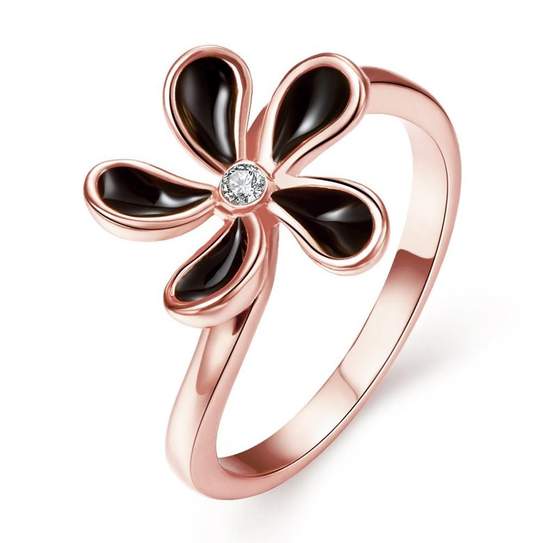 Wholesale Romantic Rose Gold Plant White Rhinestone Ring TGGPR1383