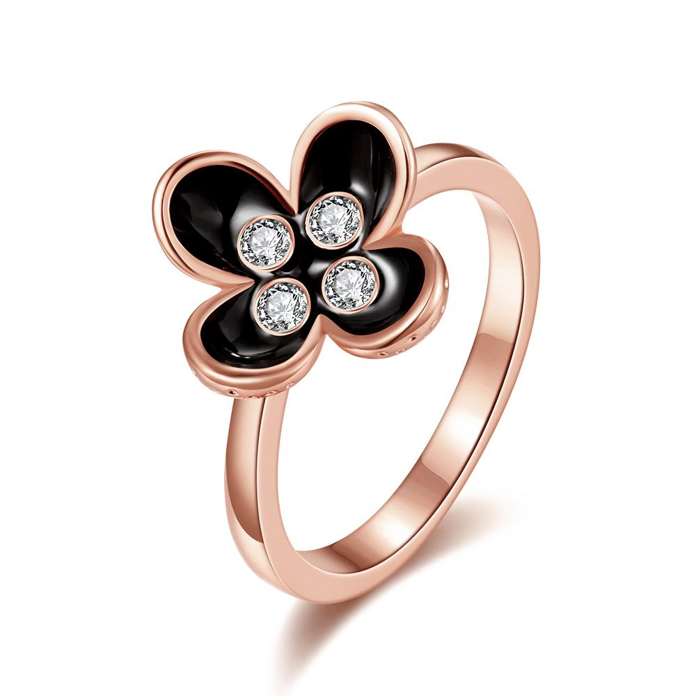 Wholesale Bohemia Rose Gold Plant White Rhinestone Ring TGGPR1398