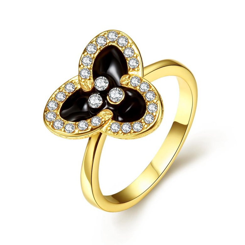 Wholesale Romantic 24K Gold Plant White Rhinestone Ring TGGPR1457