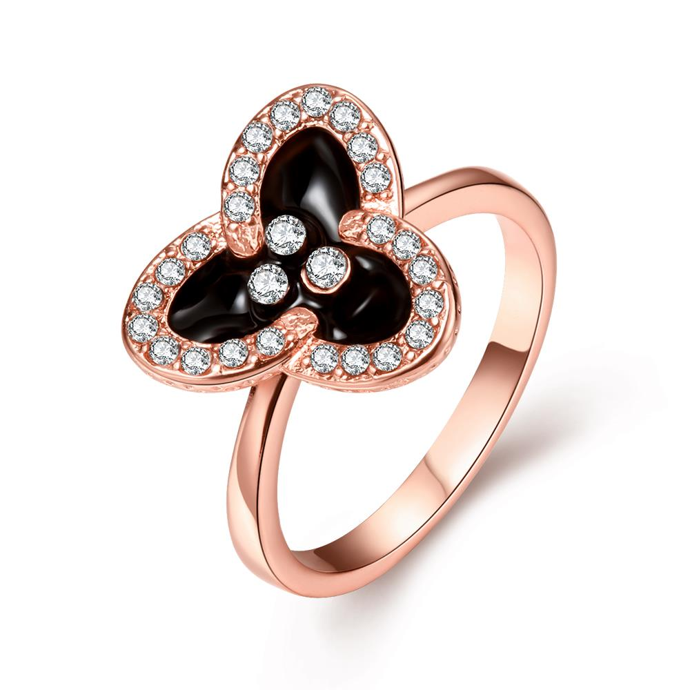 Wholesale Romantic Rose Gold Plant White Rhinestone Ring TGGPR1464
