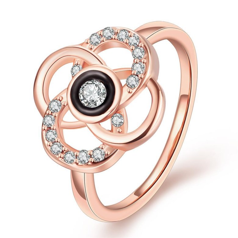 Wholesale Classic Rose Gold Plant White Rhinestone Ring TGGPR1500