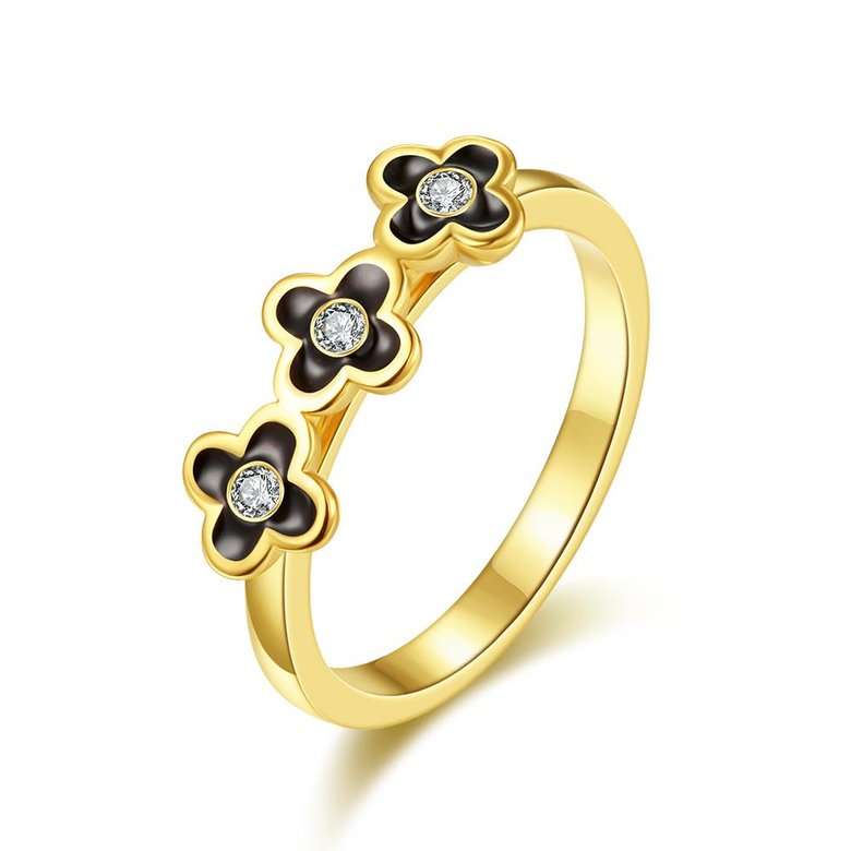 Wholesale Bohemia 24K Gold Plant White Rhinestone Ring TGGPR295