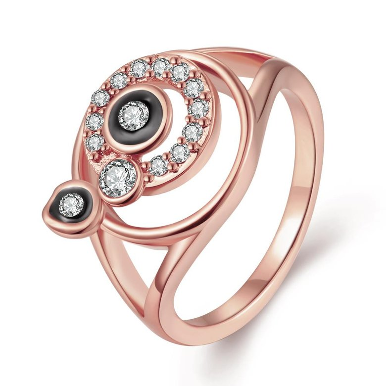 Wholesale Bohemia Rose Gold Round White Rhinestone Ring TGGPR346