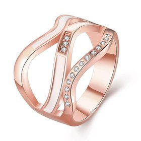 Wholesale Romantic Rose Gold Geometric White Rhinestone Ring TGGPR009