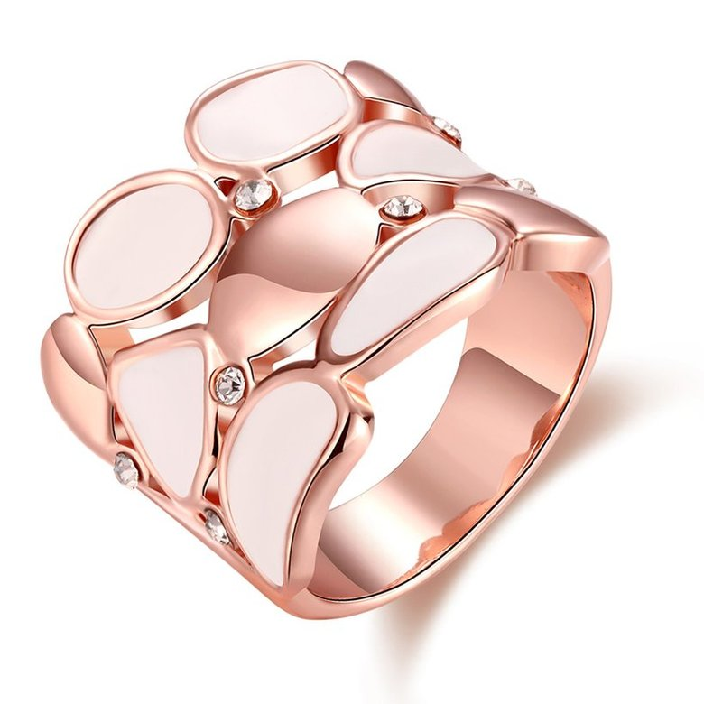 Wholesale Trendy Rose Gold Geometric White Rhinestone Ring TGGPR581