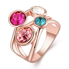 Wholesale Romantic Rose Gold Geometric Multicolor Rhinestone Ring TGGPR010