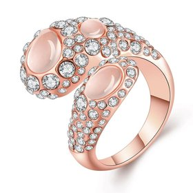 Wholesale Trendy Rose Gold Geometric Multicolor Stone Ring TGGPR889
