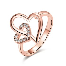Wholesale Romantic Rose Gold Heart White CZ Ring TGGPR333