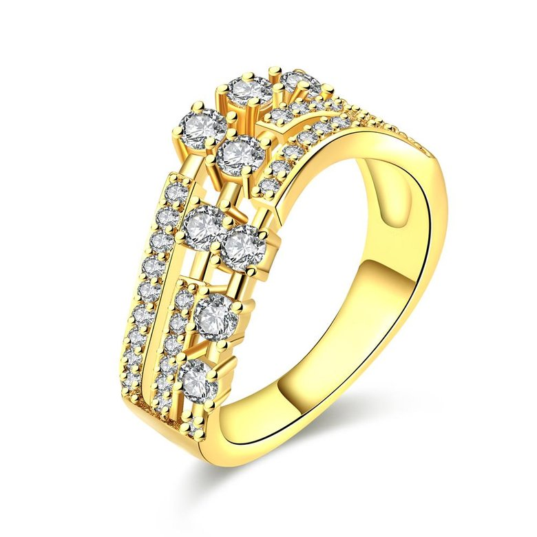 Wholesale Trendy 24K Gold Geometric White CZ Ring TGGPR361