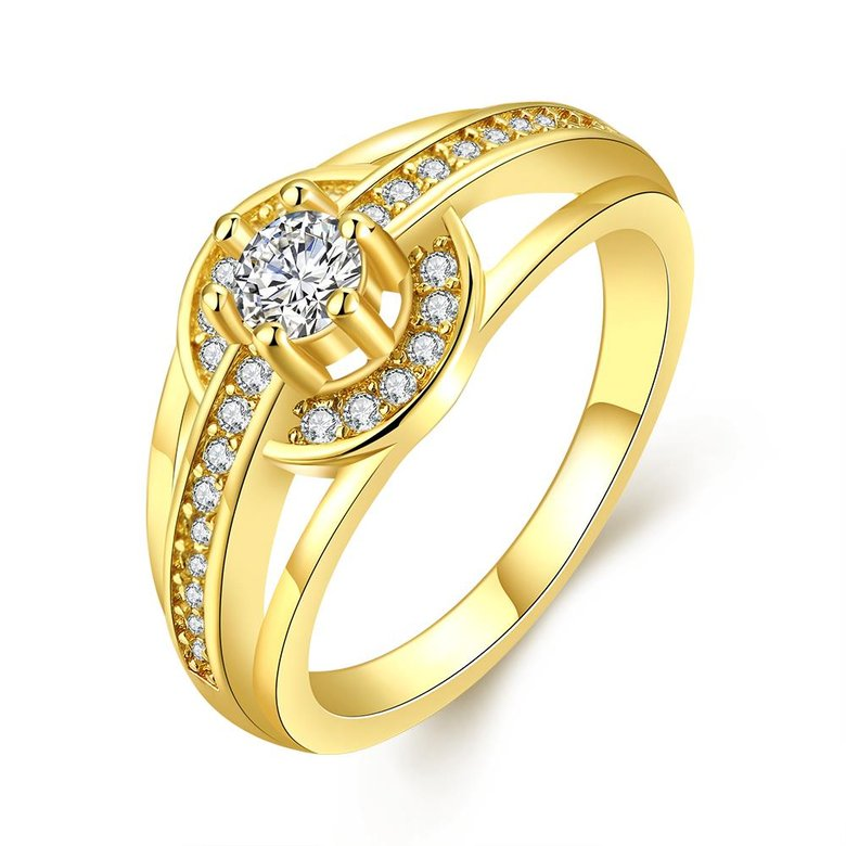 Wholesale Romantic 24K Gold Round White CZ Ring TGGPR382
