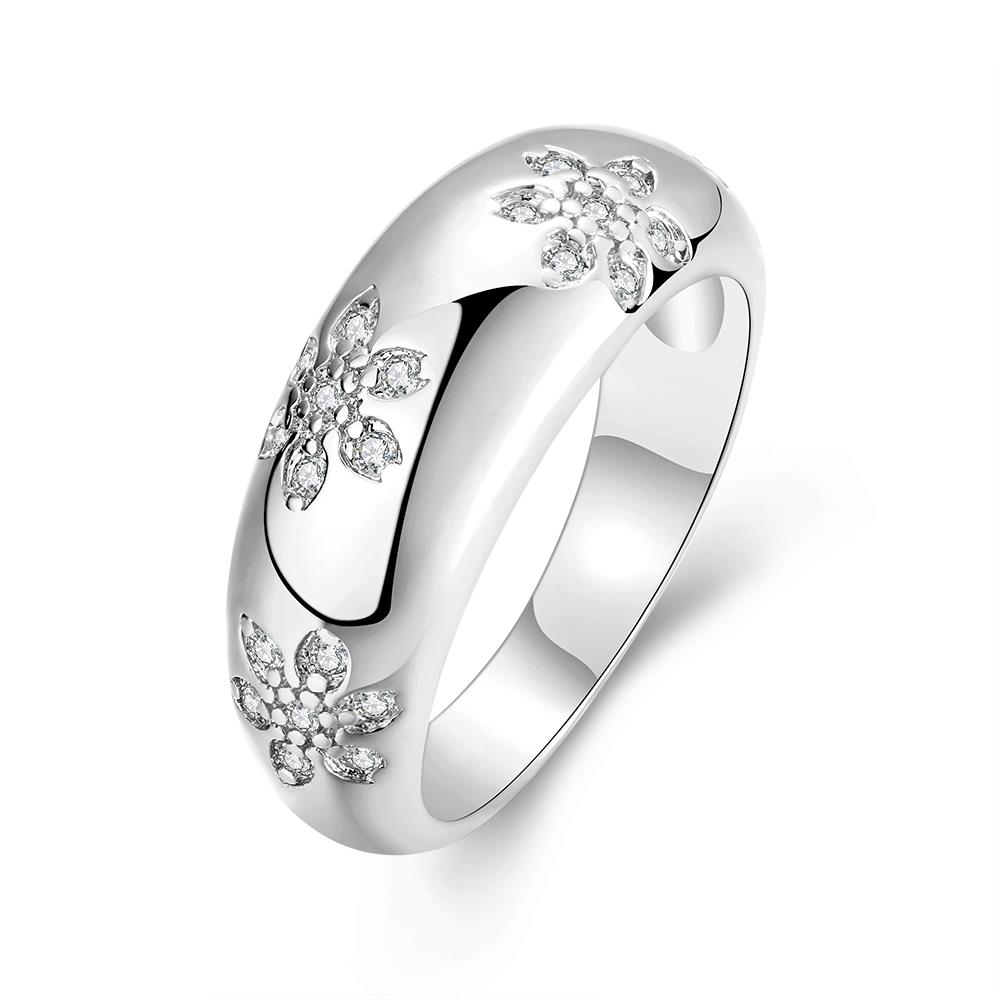 Wholesale Romantic Platinum Plant White CZ Ring TGGPR562