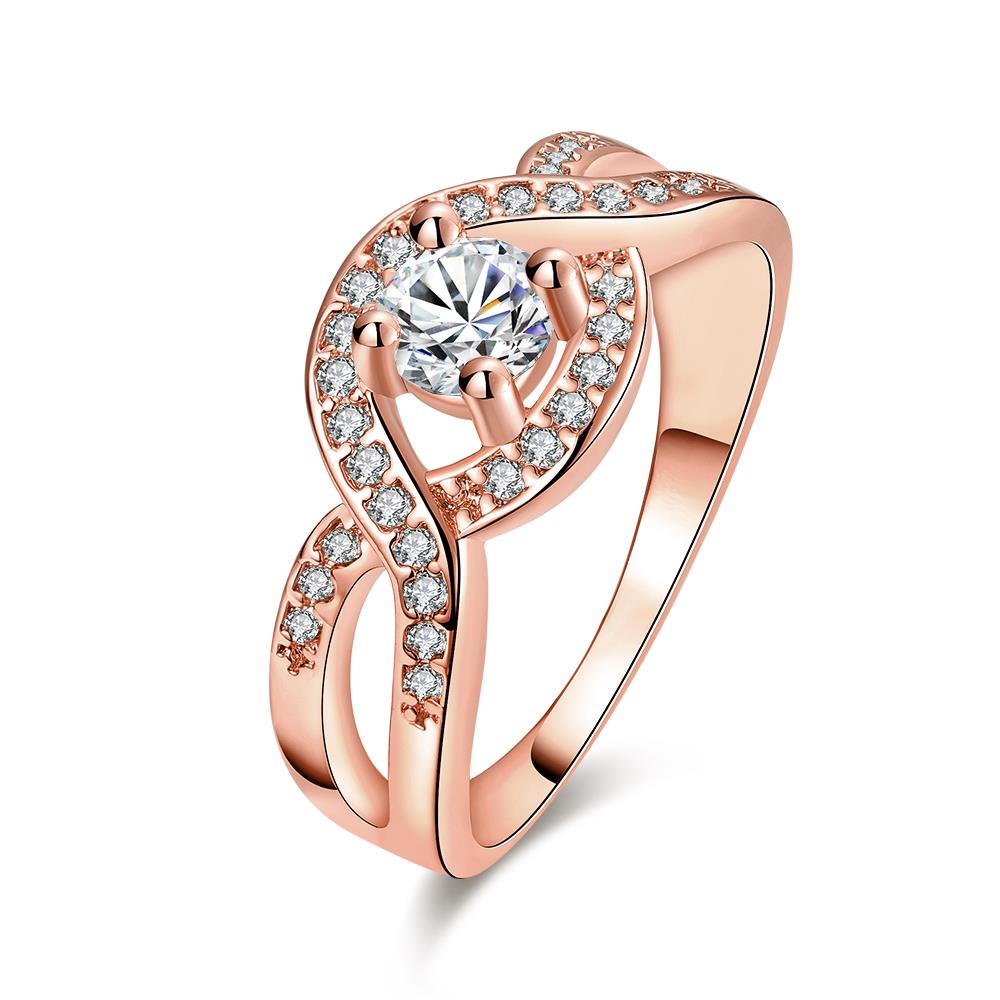 Wholesale Classic Rose Gold Round White CZ Ring TGGPR658