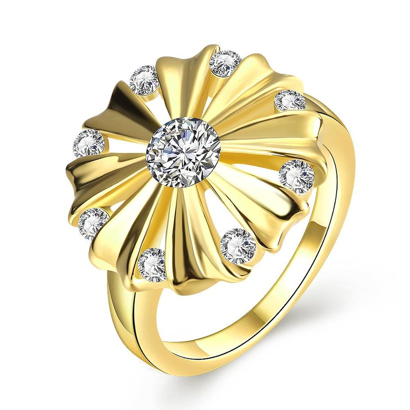 Wholesale Romantic 24K Gold Round White CZ Ring TGGPR751