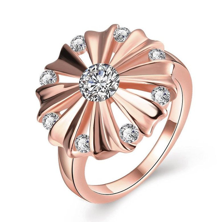 Wholesale Romantic Rose Gold Round White CZ Ring TGGPR754