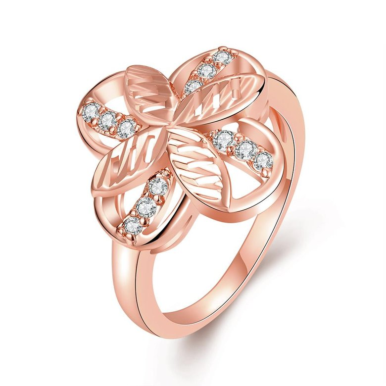 Wholesale Romantic Rose Gold Plant White CZ Ring TGGPR760
