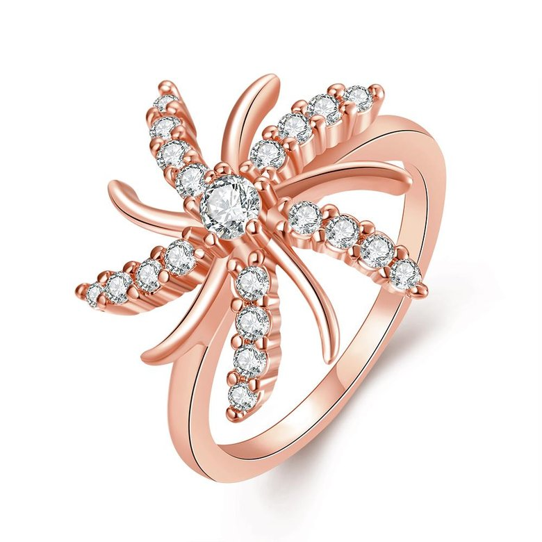 Wholesale Trendy Rose Gold Plant White CZ Ring TGGPR783