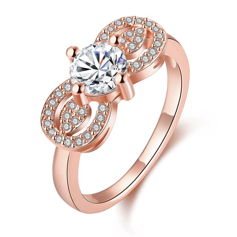 Wholesale Cute Rose Gold Letter White CZ Ring TGGPR820