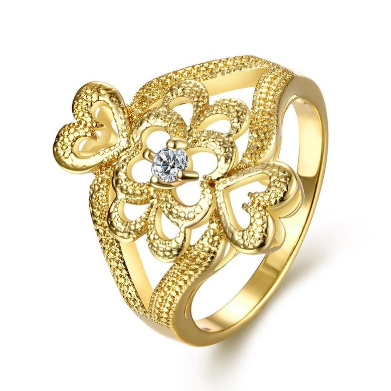 Wholesale Classic 24K Gold Heart White CZ Ring TGGPR1097