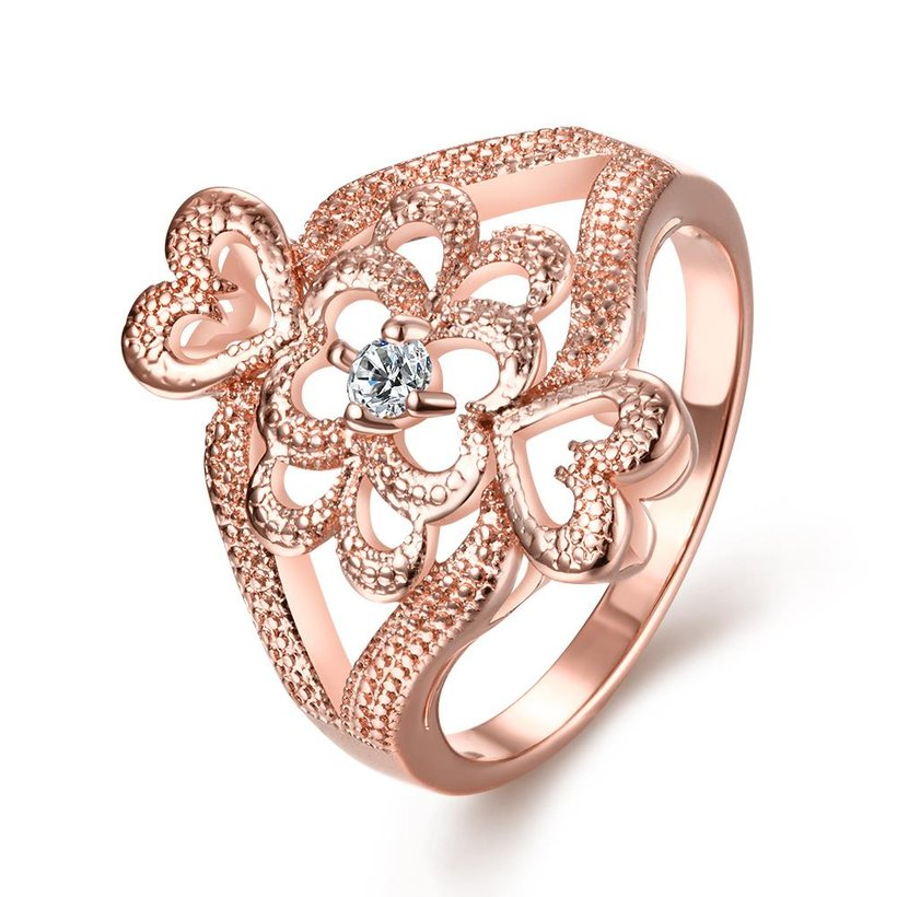 Wholesale Classic Rose Gold Heart White CZ Ring TGGPR1103