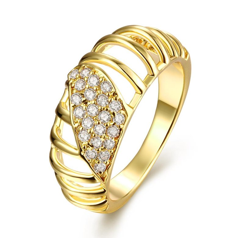 Wholesale Classic 24K Gold Round White CZ Ring TGGPR1124